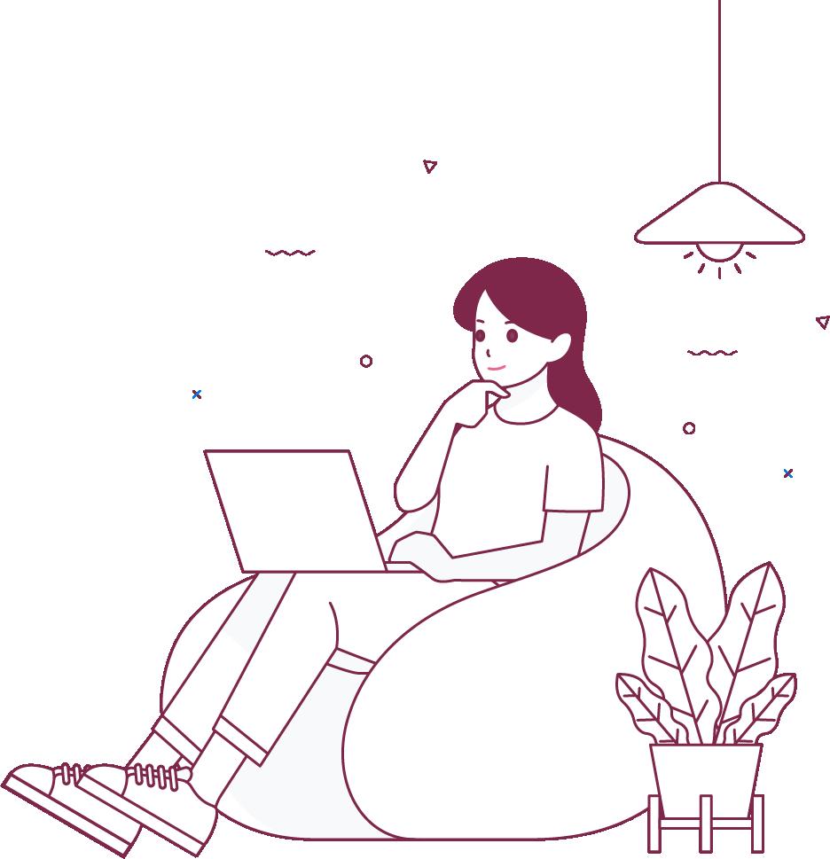Frau guckt auf Laptop - Zeichnung - MPU Vorbereitung