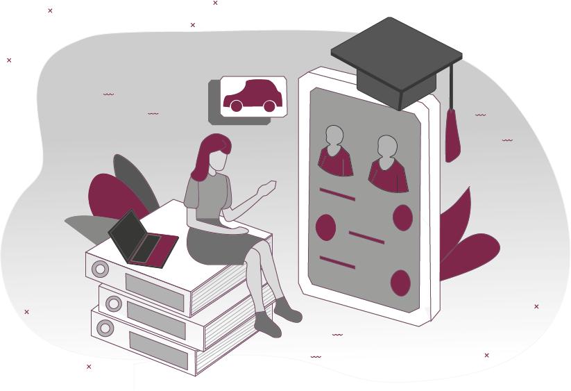 Frau sitzt auf Büchern und lernt Zeichnung